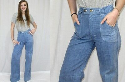 Vintage 70s Light HIGH Waist Hippie Boho BELL Bottom Retro Denim Jeans 26-29x37