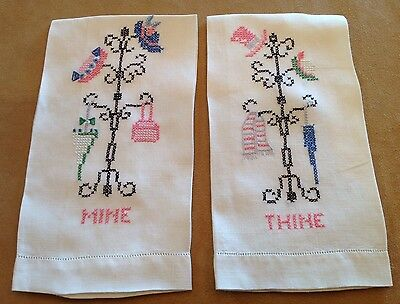 Two Vintage Guest Towels Or Tea Towels, Thine & Mine Embroidery, Ivory