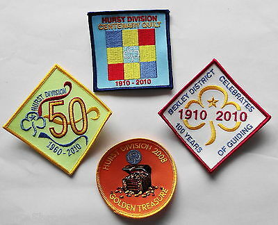 Uk Girl Guides: 4 Mint Hurst Division Assorted Badges/patches~ Mainly Centenary