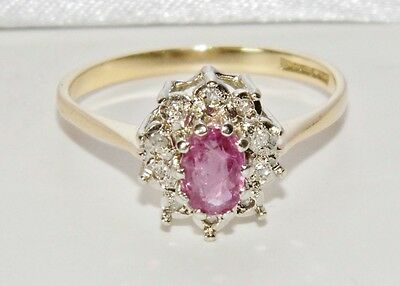 Vintage 9ct Yellow Gold Ruby & Diamond Ladies Cluster Ring - size O