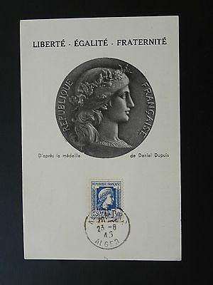 definitive stamp Marianne de Fernez maximum card Algeria 1945