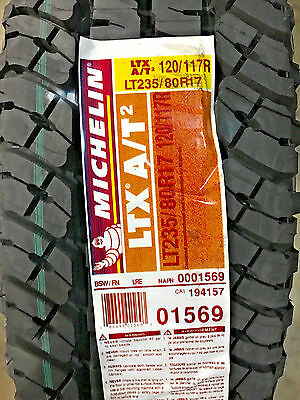 6 New LT 235 80 17 LRE 10 Ply Michelin LTX A/T2 Tires