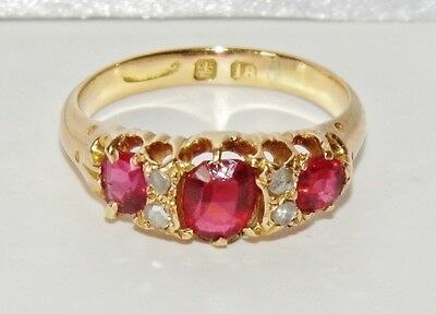 ANTIQUE 18 CT YELLOW GOLD RUBY & DIAMOND RING - size K