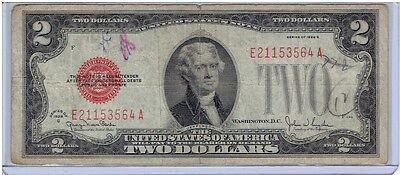 1928 G Series $2 Silver Certificate Note, Red Seal