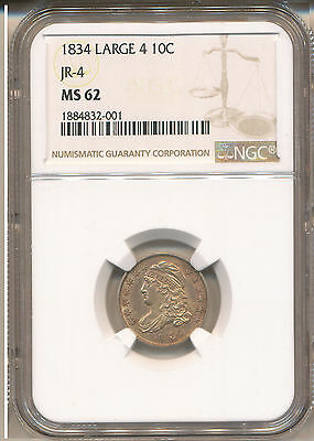 1834 Small 4 Bust Dime Ms62 Ngc