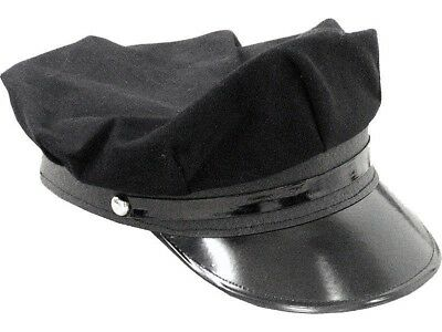 Black Chauffeur Chauffer Taxi Driver Hat Police Officer Limo Cap Costume