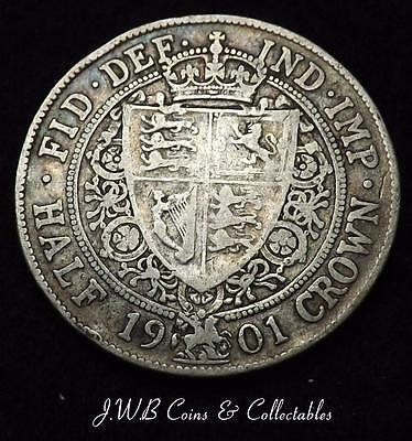 1901 Queen Victoria Silver Halfcrown Coin - Great Britain