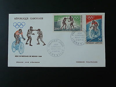 bicycle cycling boxing olympic games Mexico 1968 FDC Gabon 74223