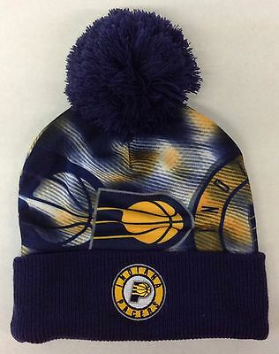 92160a79607 NBA Indiana Pacers Adidas Cuffed Pom Winter Knit Hat Cap Beanie Style   KU83Z NEW
