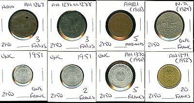 MOROCCO- 1267 (1286 or 1288 ) 3 FALUS- 1321 (1903) 5 MAZUNAS- ND (1924) 1 FRANC-