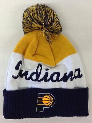 sports shoes 078c4 3cd19 NBA Indiana Pacers Adidas Cuffed Pom Winter Knit Hat Cap Beanie Style   KU82Z NEW