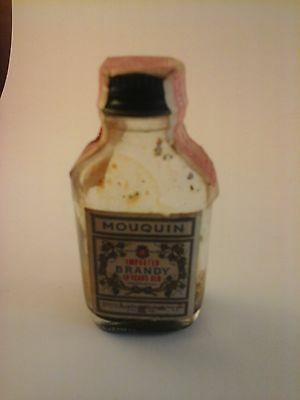 Vtg 1940's-1960's EMPTY Mini Liquor Bottle MOUQUIN BRANDY (Italy)  RARE & HTF