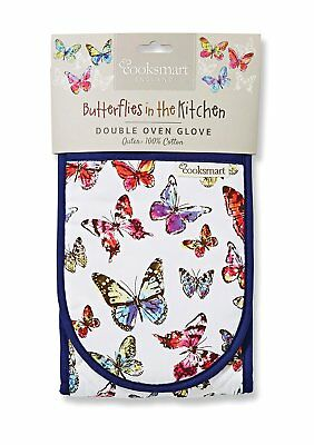 Cooksmart Butterfly Double Oven Glove Mitt Cotton Insulated Multi Colour Kitchen