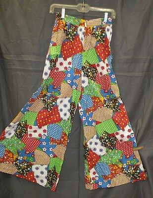 Vintage Hippie Festival Patchwork Print Palazzo HUGE Bell Bottom Pants sz XS