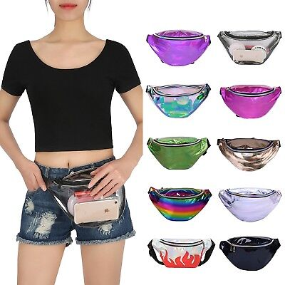 Holographic Fanny Pack Iridescent Shiny Waist Pack for Travel Festival Rave