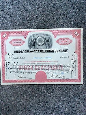 Erie-Lackawanna Railroad Co. Dated 1966 100 SharesINVALID SHARE CERTIFICATE