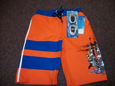 Rway Boys Size 10/12 Medium  Swim Shorts Trunks With Goggles Orange With Sharks