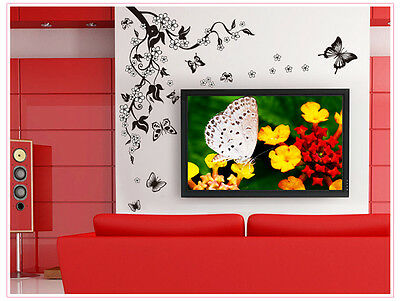 Flower Butterfly Wall Art Decal Stickers Home Decor Mural Removable Ornament P&P