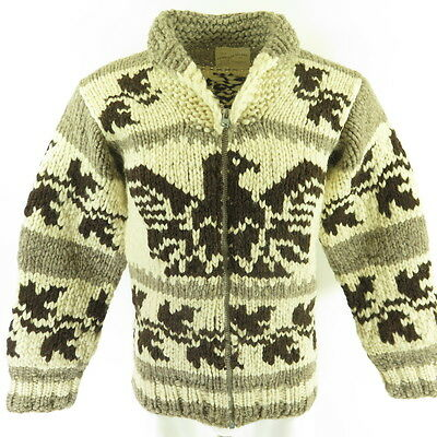 Vintage 80s Cowichan Sweater Mens S Eagle Indian Heavy Knit Wool