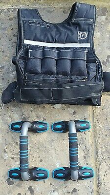 Adjustable Weighted Vest 10kg Weight Training Running + Push Up Tri Grips