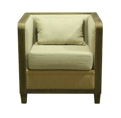 Vintage Style Lincoln End Side or Club Chair Aged Driftwood Finish Burlap