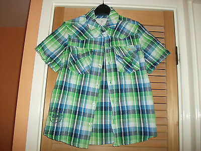 Primark Rebel Boys Short Sleeve Shirt, Green/Blue Checks, Age 9-10 Years