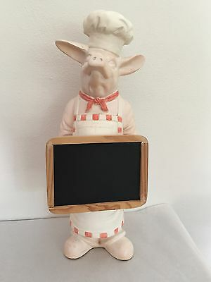 Vintage Chef Pig with chalkboard Menu Chef