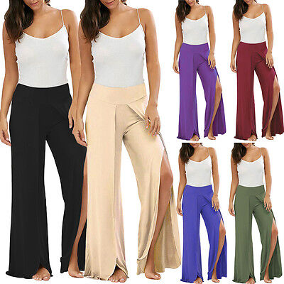 Plus Size Women Lady Palazzo Plain Flared Wide Leg Pants Leggings Baggy Trousers