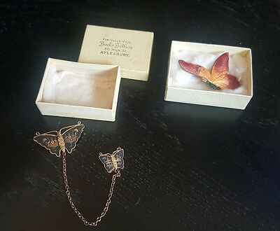 art deco oriental enamel butterfly brooches with chain