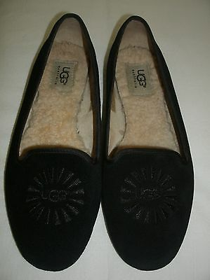 Ugg Australia Black Suede Slip on Flat Shoes / Slippers Womens Size 7