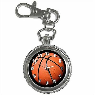 NEW* HOT BASKETBALL Silver Tone Key Chain Ring Watch Gift