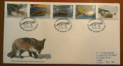 1992 Royal Mail Fdc - Wintertime Issue - Foxearth Sudbury