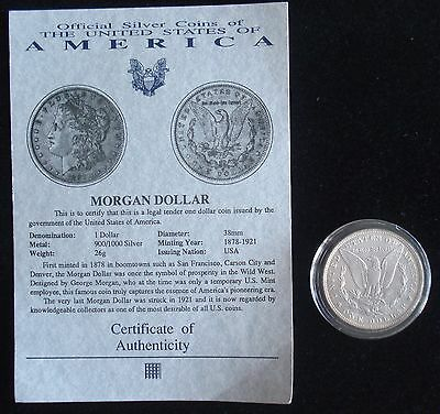 Historic United States 1884 O New Orleans Mint Morgan Silver Dollar With Coa