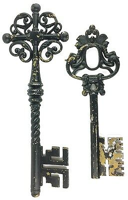 Vintage Sexton Metal Wall Hangings Ornate Decorative Old Style Keys