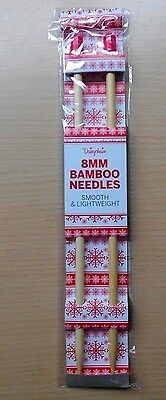 8mm Bamboo Knitting Needles NEW SEALED Smooth Lightweight Needle 35cm Pair