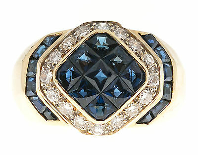 Vintage Invisible Set Blue 2.75ct Custom & Square Sapphire 18k 17 Diamond Ring