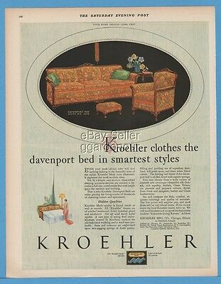 1928 Kroehler Furniture Davenport Bed Suite 1909 Chicago IL Stratford Ontario Ad
