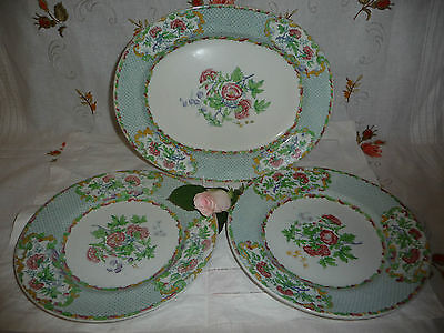 Lovely Copeland Spode Small Platter With Two Matching Plates T Goode & Co
