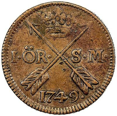 SWEDEN: Fredrik I, 1720-1751, copper ore, 1749