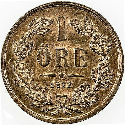 SWEDEN: Carl XV Adolf, 1859-1872, copper ore, 1872 L.A.