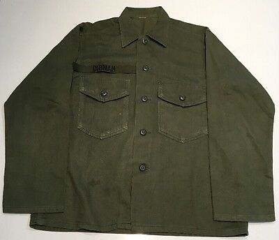 Vietnam U.S. Army Cotton Shirt Mens Named Patch Army Service Forces Named