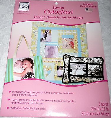 Tailor COLORFAST CREAM Sew-in Fabric Sheets for Ink Jet Printers 3 Sheets