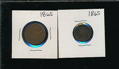 Two Cent 1865 & Indian 1865 - Civil War Pair