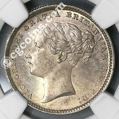 1885 NGC MS 64 Victoria Silver Shilling GREAT BRITAIN Coin (17041701C)
