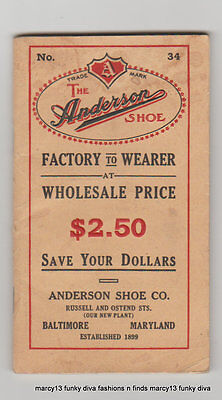 1915 Anderson Shoe Catalog No. 34 Men's  Women's & Children's Shoes