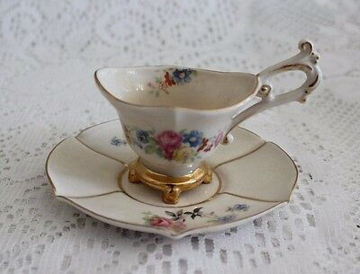 Vintage Stafford China Ornate Floral / Gold Footed Demitasse Cup & Saucer