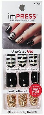 KISS imPRESS Press-On Manicure CLAIM TO FAME 30 Nails BLACK+WHITE+GOLD New! 2/10