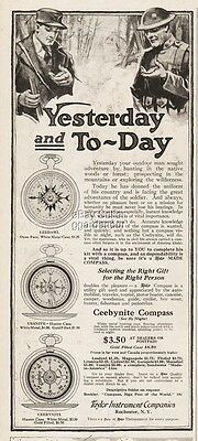 1918 Taylor Instrument Rochester NY Compass Ceebynite Radium Dial WWI Soldier Ad