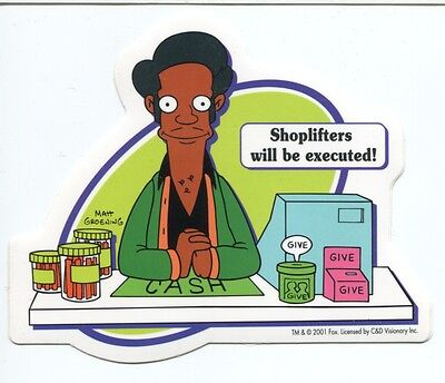 THE SIMPSONS apu: shoplifters will be executed STICKER