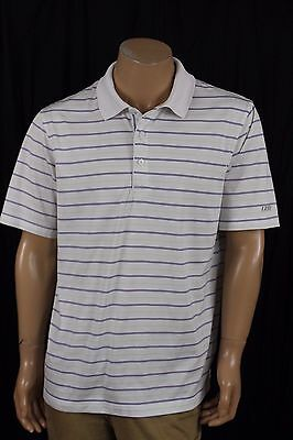 Men's IZOD Perform X White/Blue/Green Golf Polo Shirt Short Sleeve Size Large L